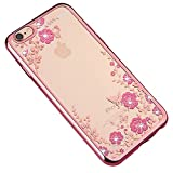 iPhone 8 /iPhone 7 (4.7 inch) Case Cover, Gostyle Electroplate Plating [Rose Gold Frame] Butterfly Pink Flower Pattern Bling Glitter Transparent Soft Silicone TPU Back Protective Case for iPhone 7/8