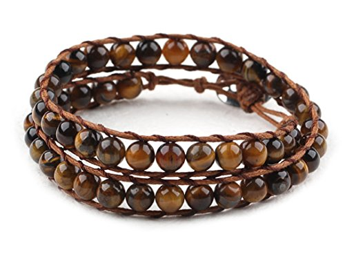 Tiger Eye Wrap Bracelet Brown Genuine Leather Hand-Knotted Multilayer 6mm Round Beads -