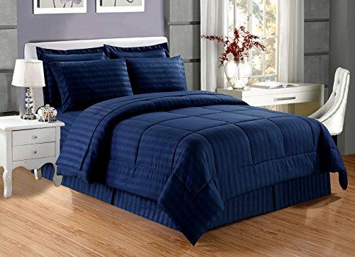 Grand Linen 8 piece Luxury NAVY BLUE Dobby Stripe Bed In A B