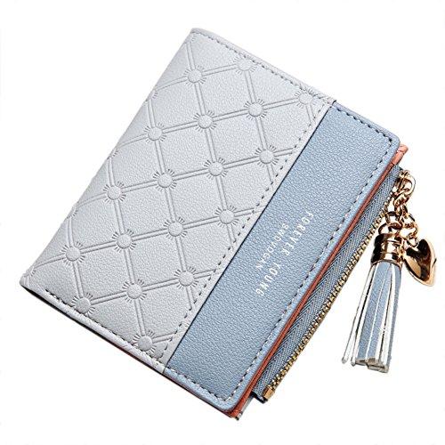 Belsmi Women's Small Compact Slim PU Leather Wallet Rfid Blocking Lady Purse Zipper Pocket Card Organizer Bifold Wallets (Gray)