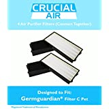 4 GermGuardian 3-in-1 Air Cleaning System Replacement Filters C Pet, For 5000 Model Series, Compare to Part # FLT5250PT, Includes 4 Filters That Fit Together in Air Purifier, by Think Crucial