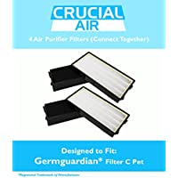 4 Replacement for GermGuardian C Pet Filter Fits 3-in-1 Air Cleaning System 5000 Series, Compatible With Part # FLT5250PT, 2 Filters That Fit Together in Unit, by Think Crucial