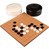 Go Game Set with 4 Inch Beechwood Veneer Go Board and Single Convex Melamine Stones