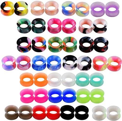16pcs Thin Soft Silicone Flesh Tunnels Ear Plugs Gauges Expander Earskin 6-18mm