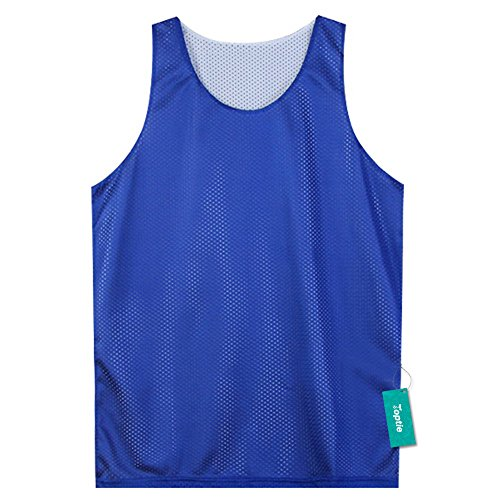 TopTie Men's Tank Top, Reversible Mesh Tank, Basketball Jerseys, Lacrosse Jersey BLUEWHITE-M