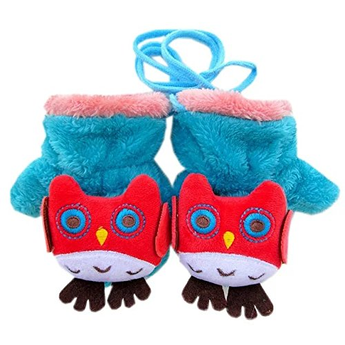 COFFLED Kids Snow Warm Winter Gloves 3 Pairs, Children Baby Knit Cute Cartoon Gloves Colorful Mittens