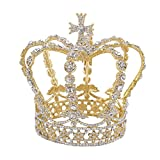 King Queen Cross Crown Gold Crown Baroque Crystal Rhinestones Full Tiara (clear#2)