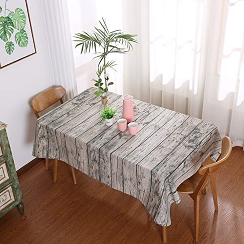 Tablecloth Decor,Quaanti Dining Tablecloth Retro Soft Cotton and Linen Tablecloth Wood Grain Simulation Dustcloth Photography Background Cloth, Rectangular Table Cover for Dining Room Kitchen (M)
