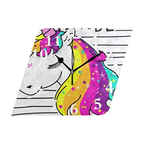 NMCEO Rhombus Wall Clock Time to Be Unicorn Acrylic Original Clock for Home Decor ()