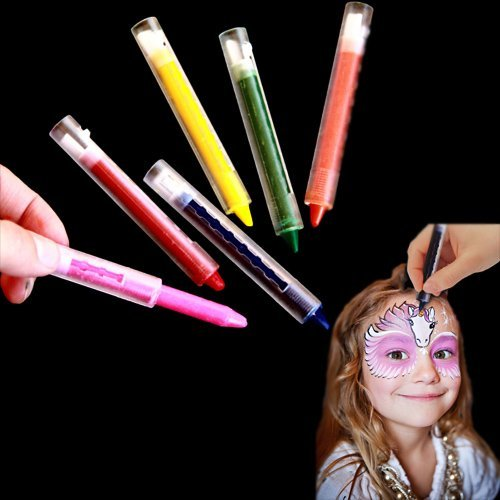 Halloween Facial Makeup (Multicolor Face Painting Kit - Pack of 12 Bright Makeup Crayon Sticks for Masquerades | Halloween | Birthday Parties | Parades - 12 Count Kids Creative Body Facial Paint - 6 Color Assortment)