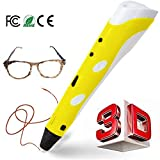 REES52 3D Pen, 3D Printing Pen for 3D Drawing, Doodling, Arts, Crafts, Model Making with 3 Free 1.75mm ABS Filament Refills (Yellow)