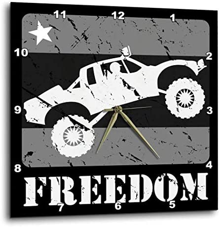 3dRose DPP_181190_1 Greyscale Distressed Illustration of an Off-Road Race Truckin The Air Wall Clock, 10 by 10-Inch