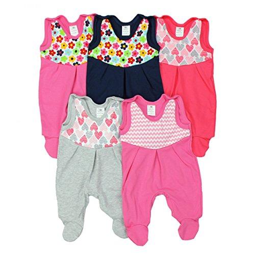 Baby Strampler mit Print 100% Baumwolle Babystrampler Jungen Strampelanzug Mädchen im 5er PACK, Farbe: Mädchen, Größe: 74