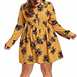 FUNIC Plus Size Womens Long Sleeve Casual Boho Floral Print Mini Dress Button Down Dresses (3XL, Yellow)