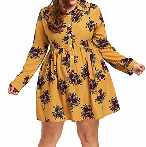 FUNIC Plus Size Womens Long Sleeve Casual Boho Floral Print Mini Dress Button Down Dresses (4XL, Yellow) by FUNIC