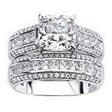 Platinum over Sterling Silver Cushion Cut Cubic Zirconia Bridal Ring Set