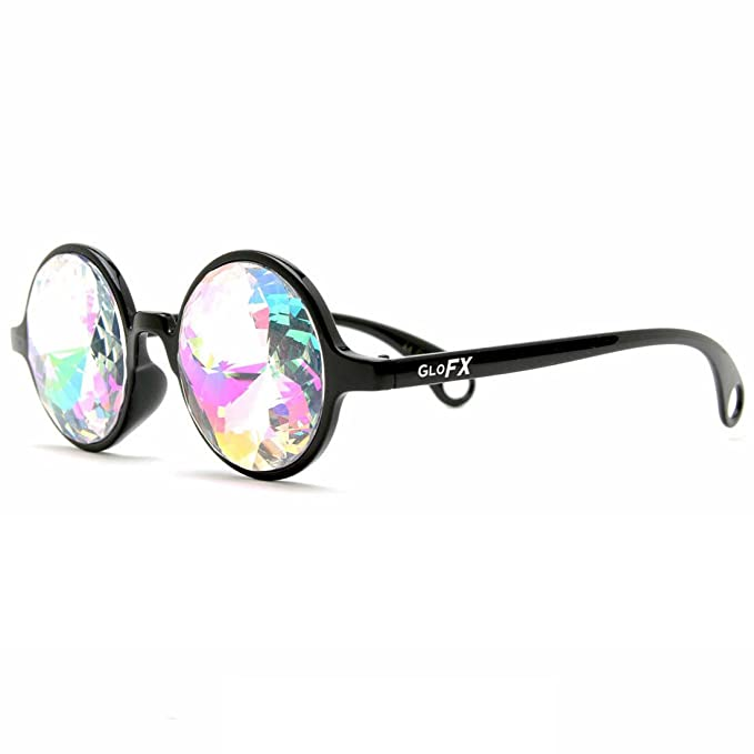 df9793bc8338 Amazon.com  GloFX Black Kaleidoscope Glasses- Rainbow Rave Prism  Diffraction  Clothing