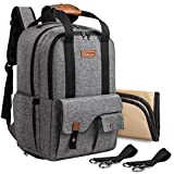 TEBEL Baby Diaper Bag Backpack Multi-Functional with Stroller Strap, Gray
