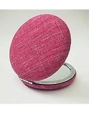مراية على شكل دائرة مع قماش خارجي لون وردي