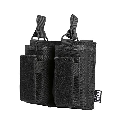 OneTigris Elastic Kangaroo Rifle and Pistol Mag Pouch for AR AK G36 9mm .40 S&W .45 ACP Magazines (Black, Double-Stack)
