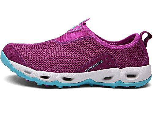 Lakaka Wasserschuhe Leicht Atmungsaktiv Schnell Trocken Mesh Sport Walking Sneaker Schwimmschuhe Slip on Aquaschuhe Strandschuhe Unisex Violett