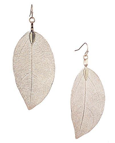 Real Pierced Earrings - Women's Bohemian Nature Inspired Metallized Real Leaf Pierced Dangle Earrings, Rose Gold-Tone