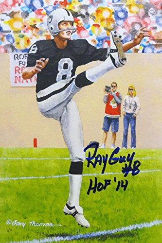 Ray Guy HOF Autographed Oakland Raiders Goal Line Art Card- JSA Authenticated