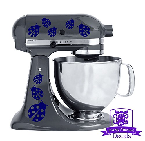 - Ladybug Patterned Kitchen Stand Mixer Front/Back Decal Set - Navy