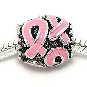 """Pro Jewelry """"Pink Breast Cancer Awareness Ribbon"""" Barrel Style Bead Charm Spacer for Snake Chain Charm Bracelet"""