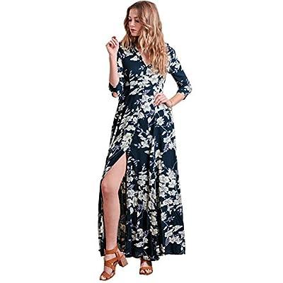 Women Vintage Floral Long Sleeve Dress Bohemian Chiffon Wrap Boho Maxi Dresses