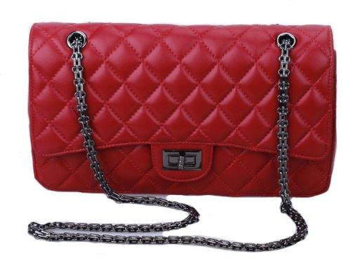 VIVILLI Check Pattern Chain Strap Shoulder Bag-Black