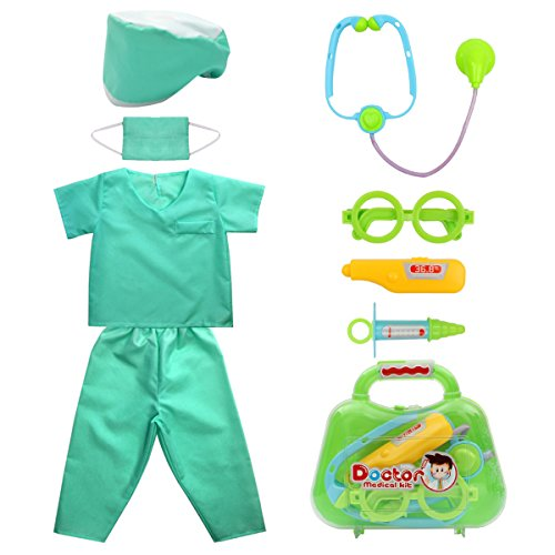 Kid's Scrubs fedio Doctor Role Play Costume Dress up Set with Doctor Medical Kit for Toddler Children Ages 3-5 (Toddler Doctor Costumes)