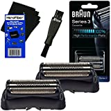 Braun 32B Replacement Foil Head Cassette, Black (2 pack) for Series 3 (new generation) + Double Ended Shaver Brush + HeroFiber Ultra Gentle Cleaning Cloth For Sale