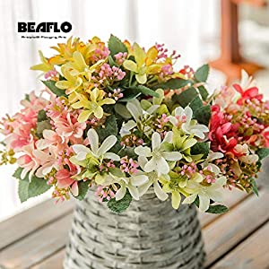 HATABO Crassulas Plants Fake Flowers 1 Bouquet European Artificial Narcissus Lily Colorful Fake Silk Flower Floral Capable for Home Party Wedding Decor Decoration (Random) 97