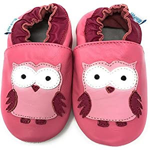 MiniFeet Soft Leather Baby Shoes, Toddler Shoes – Owl Shoes 0-6 Months to 4-5 Years