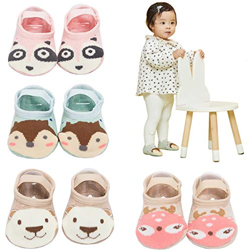 FlyingP Baby Socks 4Pairs Anti Skid Slip Socks Grip Socks Baby Walker Cartoon Socks Slippers Footsocks Baby Girl Mary Jane No-Show Crew Boat Ankle Socks 12-36 Months Toddler and Infants ()