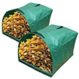 Gardzen 2-Pack Large Yard Dustpan-Type Garden Bag for Collecting Leaves - Reuseable Heavy Duty Gardening Bags, Lawn Pool Garden Leaf Waste Bag - 53 Gallon Per Bag