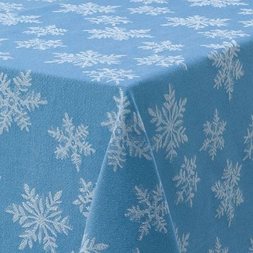 St Nicholas Square Frost Blue Snowflake Tablecloth Fabric Table Cloth 60x84  Oval: Amazon.co.uk: Kitchen U0026 Home