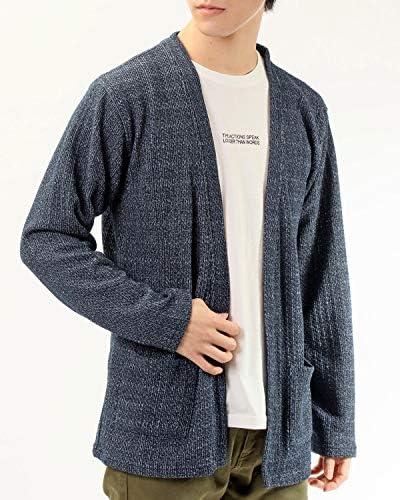 メンズ アンサンブル カーディガン 半袖 Tシャツ 2点セット 無地 ストライプ