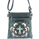Justin West Tooled Turquoise Stone Cross Laser Cut Crossbody Messenger Bag Handbag Purse with Concealed Carry and Phone Slot (Olive)