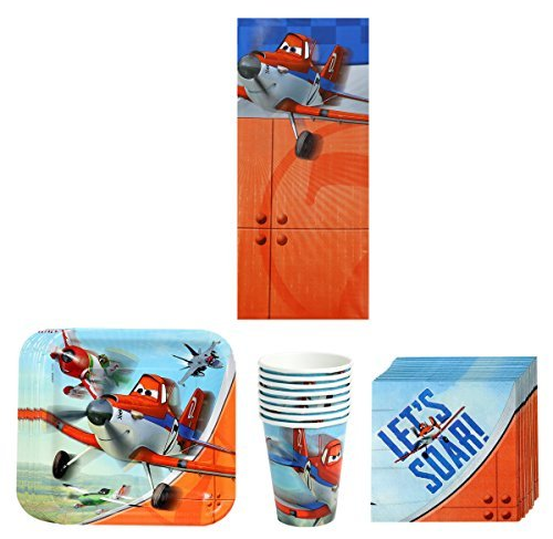Disney Planes Dusty and Friends Birthday Party Supplies Pack Bundle Kit Including Plates, Cups, Napkins and Tablecover - 8 Guests -