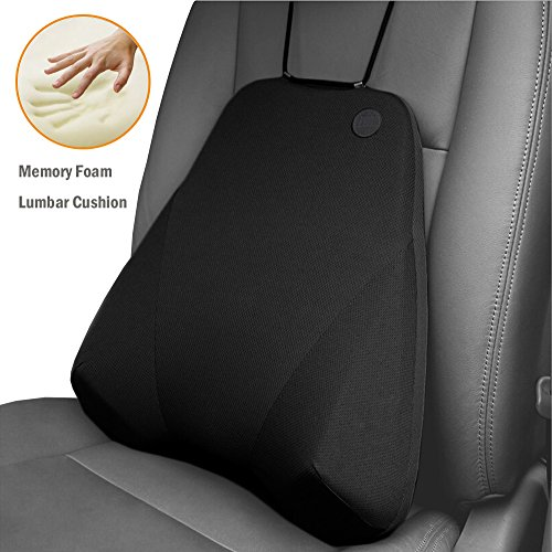 Qbuc Car Back Support Car Lumbar Pillow For Back Spine Coccyx Pain Relief Memory Foam Lumbar Support Pillow Comfort Back Cushion For Car Seat Office Chairs Travel And Home Black