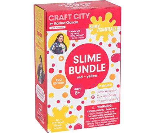 Craft City Karina Garcia Make Your Own Slime Essentials Kit | Red + Yellow Pack | Glitter | DIY Slime Essentials and Supplies | Slime Arts and Crafts | Pro-Edition | Ages 8+