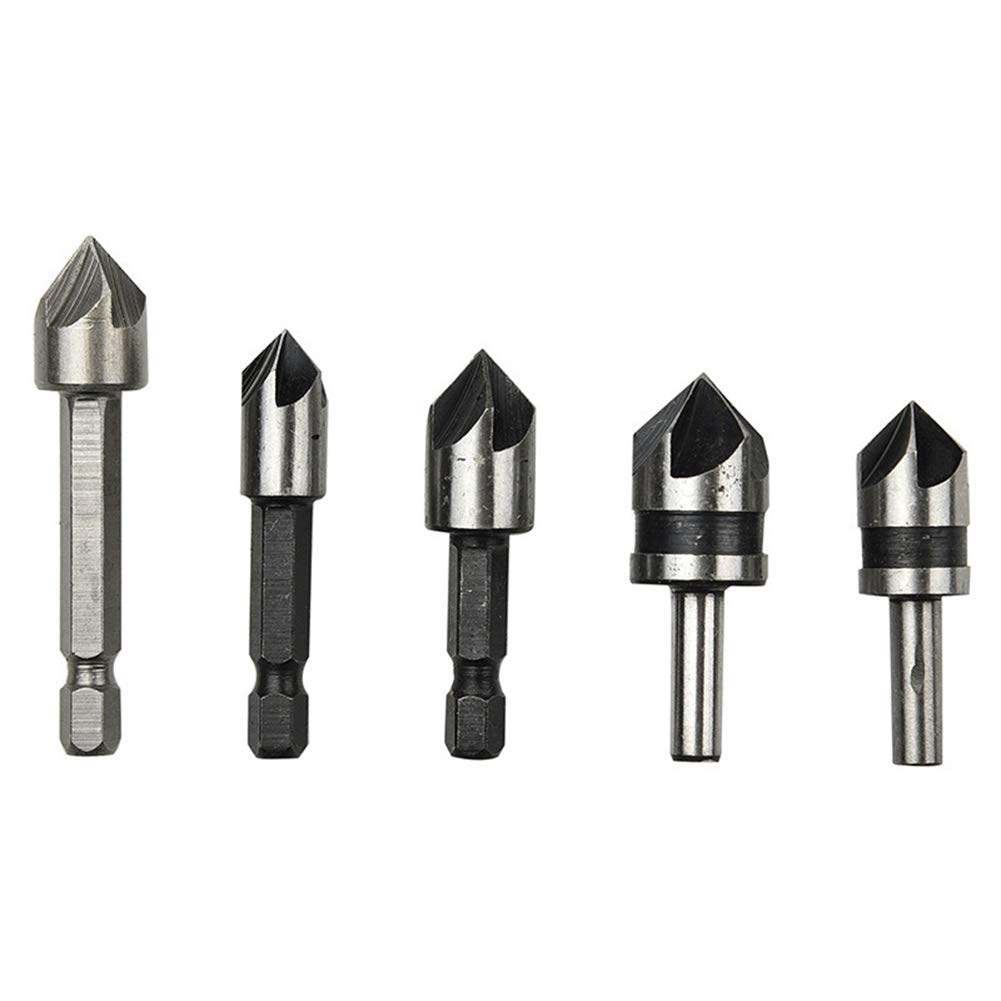 SuperCS 82 Degree Five-blade Chamfering Woodworking Hole Drilling 5pcs Plastic Bag