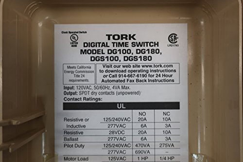 TORK DG180 24 Hour Digital TIME Switch W/Day OMIT 120V-AC D607894: Amazon.com: Industrial & Scientific