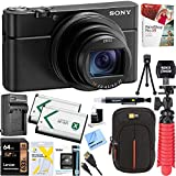 : Sony DSC-RX100M6 RX100 VI Cyber-Shot Digital Camera 20.1 MP with 24-200mm Zoom Lens + Lexar 64GB SDHC/SDXC UHS-I Card + Dual Battery Kit + Accessory Bundle