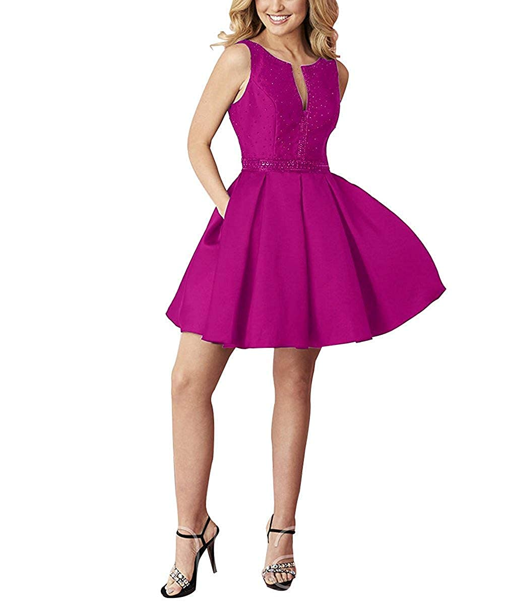 Fuchsia PromQueen Homecoming Dress Beaded Pageant Party Gown VNeck Open Back Prom Dress with Pocket