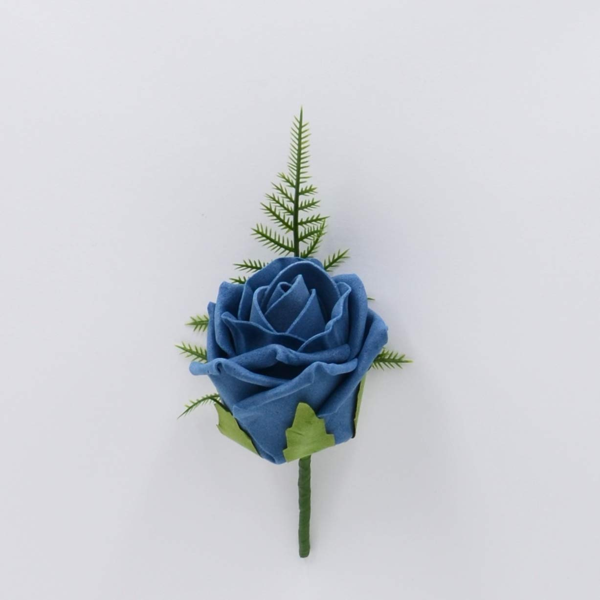 Artificial Wedding Flowers Hand-Made by Petals Polly, Foam Rose Buttonhole in Teal PETALS POLLY FLOWERS