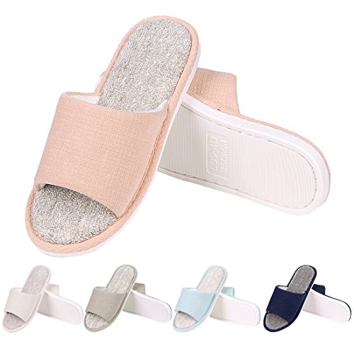 Women's Cloth Open on House Shoes Slippers Terry Slip Pink Home Memory Toe Foam Slippers House Cotton qXPx8wfqrS
