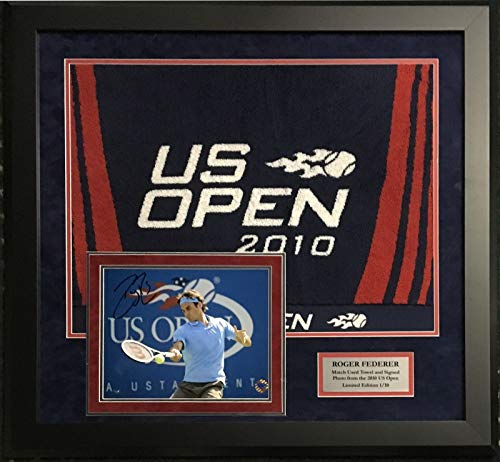 a170c28d391 Roger Federer signed 8x10 photo 2010 US Open Game used towel framed COA LE   10